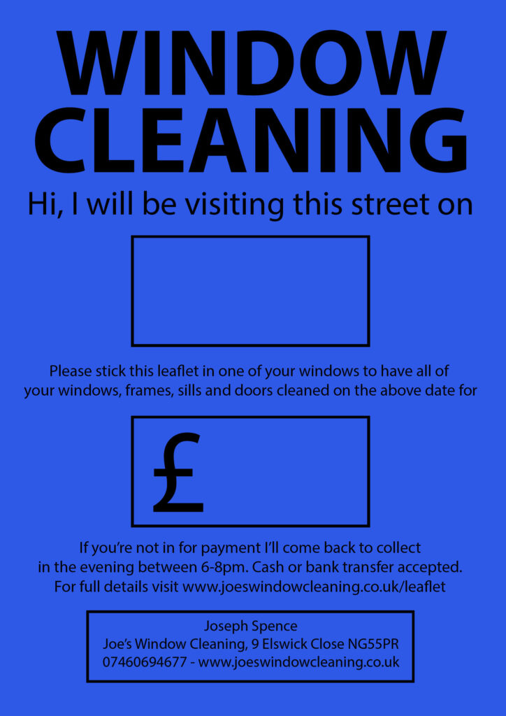 Joes Window Cleaning Flyer Window Cleaning in Gedling Nottingham August 2020. £9 all windows doors, sills, frames.